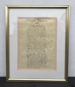 Vintage Copy Of Haratio Nelsons Last Letter To Lady Emma Hamilton
