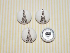 4 The Eiffel Tower Fabric Covered Buttons - Brown (20mm)