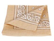 Bandana beige motif paisley 100% coton foulard zandana écharpe accessoire ba-69