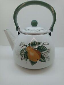 Charter Club Summer Grove Metal Tea Kettle FruitPattern Pear-Leaves,KitchenDecor