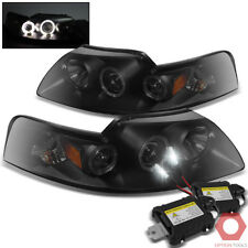 Fits 99-04 Mustang V8 V6 Twin Halo Projector Headlights (Black/Smoke) + HID Kit
