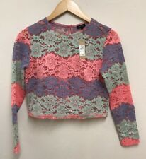 RIVER ISLAND Womens NEW Pink Mint Blue Lace Crop Top Size 8 UK RRP £30
