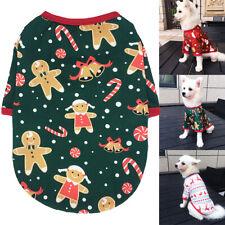 Small Medium Dog Christmas Clothes Soft Xmas T-Shirt Cute Dog Cat Vest Red Green