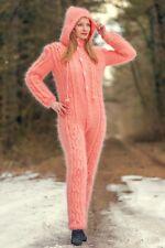 Pink cable knit catsuit mohair bodysuit handknit mohair bodysuit Supertanya
