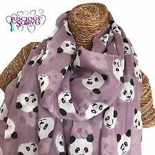 PANDA SCARF , LILAC SCARF WITH CUTE PANDAS DESIGN LADIES SUPERB SOFT QUALITY
