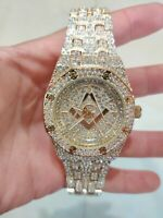 Fully Iced Watch Masonic Bling Rapper Lab Diamond Metal Band Gold Hip Luxury Hot