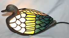 Multi Color Stained Glass Mallard Duck Table Lamp Light with Metal Base EUC 2000