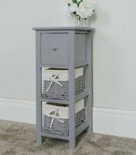Tall Slim Bedside Table, Grey Tallboy Storage Unit Wicker Bathroom