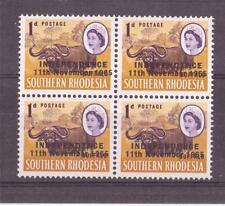 RHODESIA, QE11, 1966 INDEPENDENCE DEFINS, 1d BUFFALO  SG 260 MNH BLOCK 4,