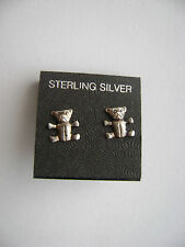Sterling Silver Small Teddy Bear Stud Earrings New Old Stock