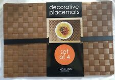 """SET OF 4 Woven Plastic Decorative Placemats - Brown  12""""x  18"""" in"""
