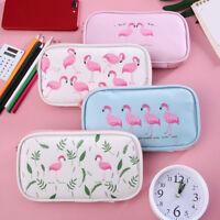 WO_ Cartoon Flamingo Zipper Pencil Case Pen Bag Student Storage Pouch Striking