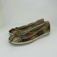 Sperry Top Sider Flats Shoes Plaid Brown Tan Slip On Shoe Womens Size 5.5M