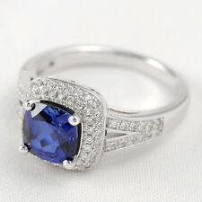 Women's 3CT Cushion Blue Sapphire White Topaz 925 Sterling Silver Ring Size 7