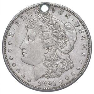 1921-D Morgan Silver Dollar - HOLED - Sannes Coin Collection *283