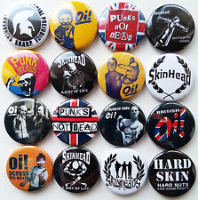 OI SKINHEAD BRITISH PUNK Rock Button Badges Pins Lot of 16
