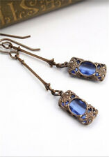 Women Antique Gold Natural Sapphire Earrings Anniversary Gift Party Fine Jewelry