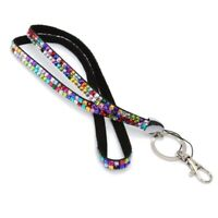 Rainbow Strap Lanyard Bling Rhinestone Crystal Custom for ID Badge Key Ring L4N7
