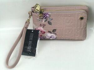 NWT Steve Madden Blush Pink Btrell Floral Logo Wristlet Clutch Wallet