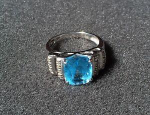 Blue Topaz Ring in 14K White Gold CID Clyde Duneier w/ 14 Diamonds - Size 7