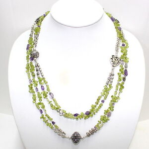 Necklace Natural Peridot Amethyst Gemstone Beaded Handmade Fashion Jewelry