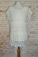 Next summer crochet top size M 12-14 short batwing sleeve loose fit sheer *mark