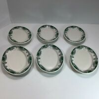 "MCM VTG Six (6) Syracuse China USA C-100 Oval 7"" Dishes RARE Green Scrolls SY862"