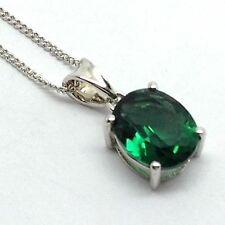 Siberian quartz Green Tourmaline Colour Pendant Oval Solid Sterlng Silver 10x8mm