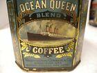 """Antique Advertising """"OCEAN QUEEN"""" Coffee Tin, Washington Conner & Co."""