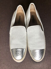 New listing Vaneli Sport Qalila Womens White Leather Silver Slip On Sneaker Shoes Size 8.5 M
