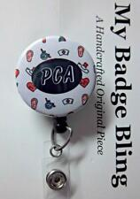 PCA Personal Care Assistant  Retractable Reel ID Badge Holder SLIDE CLIP BACK
