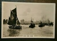 Sailing Trawler &  Steam Drifters Off Lowestoft Harbour   Vintage Photocard