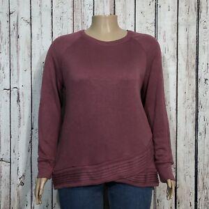 Active Life Pullover Sweatshirt Top 2XL Misses Dusty Mauve Purple Ruffled Hem