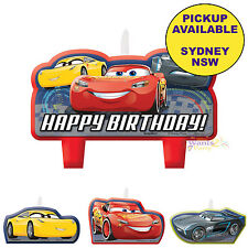 DISNEY CARS 3 PARTY SUPPLIES 4 MINI CANDLES SET BIRTHDAY CAKE TOPPERS