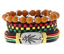 3pcs/Set Jamaica Handmade Weave HipHop Marijuana Weed Leaf Rasta Bracelets