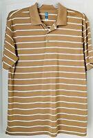 PGA Tour Mens  XL Golf  Airflux Polo Shirt  - Gold / White Striped