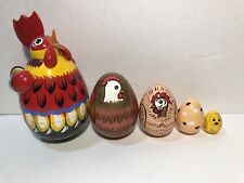 Nesting Matryoshka Doll 6� Colorful Rooster Chicken With Egg Chick Doll Set Of 5