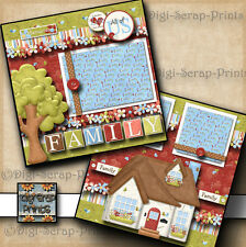 FAMILY HOME premade scrapbook pages paper piecing printed layout DIGISCRAP A0071