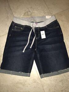 JUSTICE BLUE DENIM LONG SHORTS STRETCH ELASTIC WAIST GIRLS CLOTHES 16