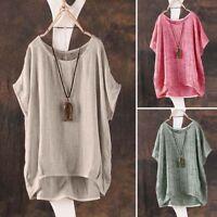 Blusa/Camiseta de mujer de verano casual simple suelta Batwing asimétrica Tops