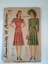 Simplicity 3877 Vintage Sewing Pattern 1941 Size 16 Bust 34 Womens Plus Cut
