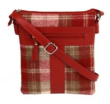 Mala Leather Abertweed Cross Body Bag (red tartan) NEW  20456