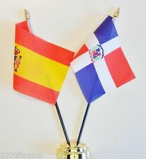 Spain & Dominican Republic Double Friendship Table Flag Set