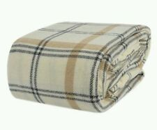 Berkshire Softworks King Italian Wool Blanket Washable Gray Ivory Plaid  NEW