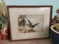 Original Framed Painting, of Bird with chicks. Vintage Picture. Nesting Swallows