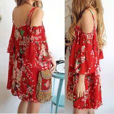 Women Summer Off-shoulder Boho Evening Party Beach Chiffon Short Mini Dress Red