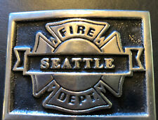 Vintage Seattle Fire Department Soild Bronze Belt Buckle
