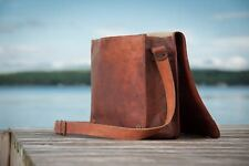 """Fair Trade 15"""" New Handmade Large Brown Genuine Leather Courier/Messenger Bag"""