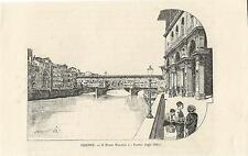Stampa antica FIRENZE Ponte Vecchio e Portici Uffizi 1892 Old print Florence