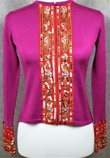 Boden ~ size 8 ~ fuchsia pink & red, sequinned, silk & wool, hook front cardigan